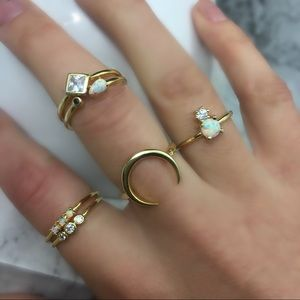 925 Dainty Opal Stackable Midi Delicate Gold Rings